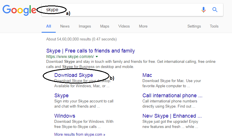 Type Skype in your Google Search bar