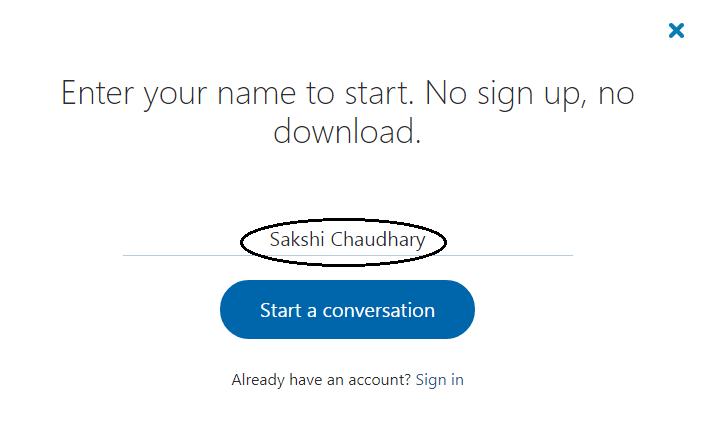 start your conversation on Skype