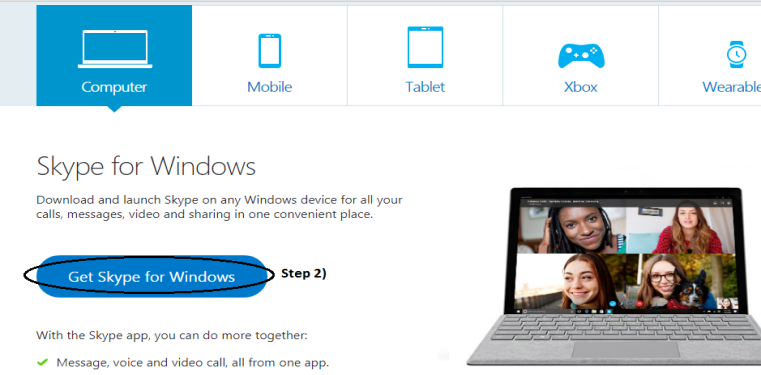 Skype for Windows page from where you can download the Skype extension